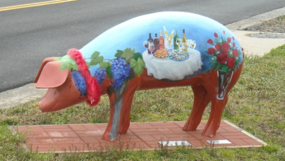 One of the eight pigs on parade - Swine and Roses